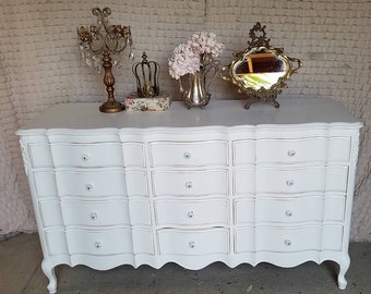 Vintage Chic, Triple Dresser, Hand Painted, White, French Provencial, Cottage, Shabby Chic