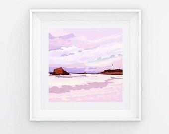 Biarritz Beach Lighthouse at Sunset Fine Art Print
