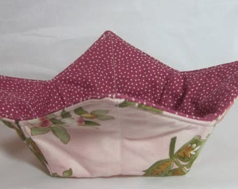 10 Inch Microwave Bowl Cozy/Holder. Floral Print and Burgundy/White Polka Dot. Hostess or Housewarming Gift