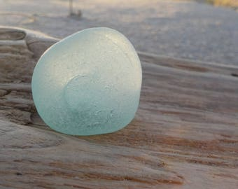 "Genuine Perfectly smoothed flawless Light Aqua blue Sea Glass net float piece-Size 1.1""-Jewelry quality-Pendant size Sea Glass#J227#"