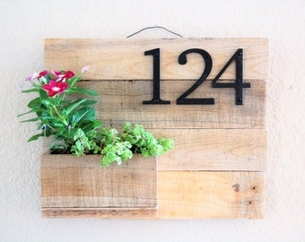 Address Sign and Planter - reclaimed wood, home address display, planter box, house sign, business address, house numbers, address plaque