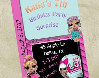LOL Surprise 4x6 high resolution Birthday Party Invitation.