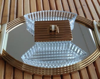 Mirror tray in wood and brass and servants in glass - ART DECO - Made in FRANCE -