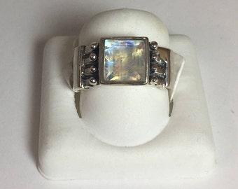Blue Flash Rainbow Moonstone Faceted Men's Ring