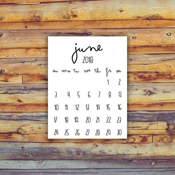 blank calendar for june 2018