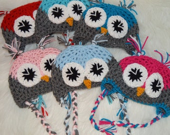 Crochet Owl Hat/ Made to Order/ Baby to Adult Sizes Available/ Choose Colors/ Custom