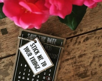 Save the date, magnets, chalkboard, vintage, unique, rustic, handmade, wedding stationary x15
