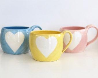 Handmade Heart Mug in Blue, Yellow or Pink