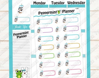 Unicorn and Penguin Stickers --- Planner Stickers --- 178