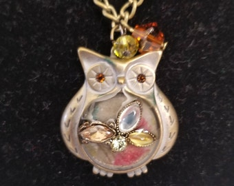 Resin Owl Pendant Necklace
