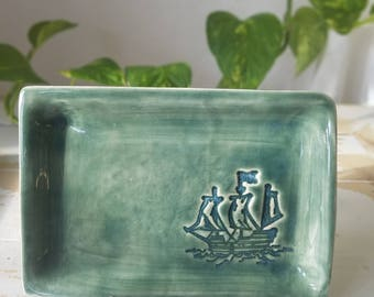 Green Pottery Ship Tray/Handmade Blue Dish/Green Decor Tray/Nautical Jewelry Tray/Small Soap Dish/Blue Pottery Tray/Soap Pottery Dish