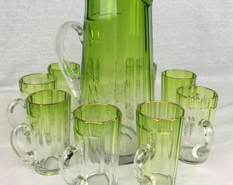 Early 1900s Moser Green Uranium Glass Gilt-Edged Lemonade or Water Set, Pitcher and 8 Tumblers