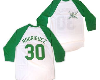 Benny Rodriguez Baseball Shirt # 30 Jersey As Worn In The Sandlot Movie The Jet Benjamin Franklin 90's SL Player Costume Adult White Green