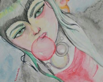 Bubbles Emo girl with a bird - water colors drawing
