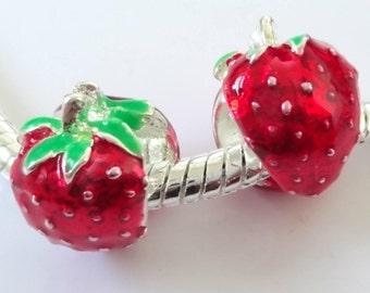 Enamel Strawberry 12mm Pandora Style Large Hole Beads 4PC 10PC