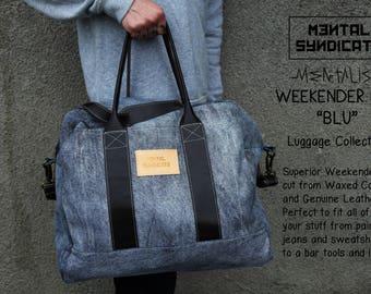"""Waxed Canvas Weekender Bag""""Mentalism""""/Weekednder Bag/Canvas Weekender Bag/Leather Weekender Bag/Luggage Bag/Canvas Luggage bag/Bartender Bag"""