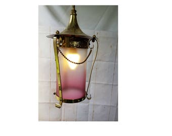 Genuine Antique Sheet and cast Brass Pendant Light Chandelier with Original Cranberry Shade