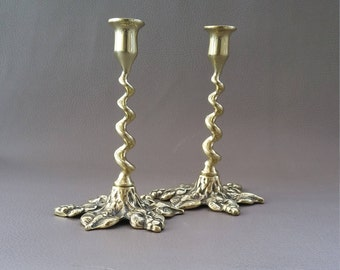 Matching Pair of two quality, Solid Brass, small Barleytwist Candle Sticks
