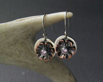 Flower Dangle Earrings, Pink Stone Earrings, Silver Copper Earrings, Artisan Earrings, Boho Flower Earrings, CZ, Romantic Earrings