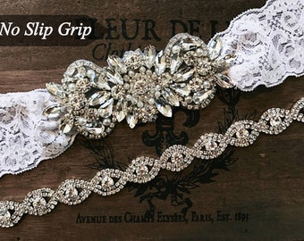 Bridal garter set, Wedding Garter Set NO SLIP grip vintage rhinestones