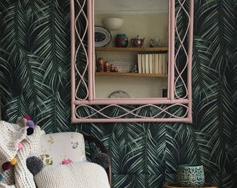 Upcycled Pink Large Bamboo Mirror