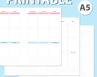 A5 Planner Insert Printable Letter A4 Erin Condren Size Week on 2 Pages KikkiK Wo2P Filofax Inserts