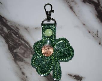 Lucky Penny Shamrock Keychain (REAL PENNY INSIDE!!!)