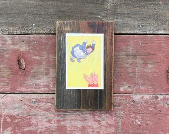 Peace by Piece Reclaimed Wood Children's Book Illustration Wall Art, Vintage Picture Frame Raggedy Ann Stories, Johnny Gruelle, 1961