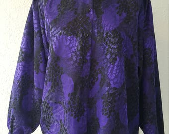 1980s blouse•vintage blouse•purple blouse•ladies top•womens top•UK 12/14•US 10/12