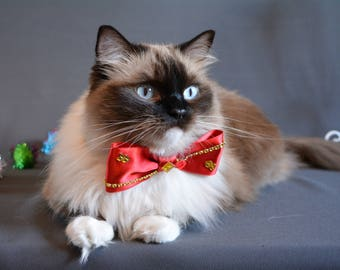 Cat collar with bow tie - red satin bow tie for cat collars - fancy cat bow tie - bling cat collar bowtie - bow tie for cat