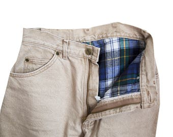 Khaki Flannel High Waisted Denim