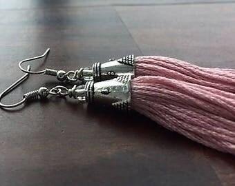 Light and flirty pink tassel earrings