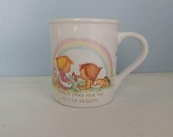 Vintage Friends Mug, Friends Make Your Day a Little Brighter, Friends Make Your Heart a Little Lighter, Vintage Hallmark, Mug Mates, Mug Cup