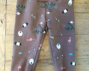 Chocolate Brown Forest Creatures Cotton Knit Leggings
