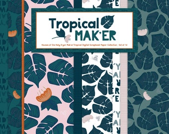 Tropical Mak'er Tropical Digital Scrapbook Paper Collection { Set of 16 } Houses of the Holy D'yer Mak'er Digital Scrapbook Paper Collection