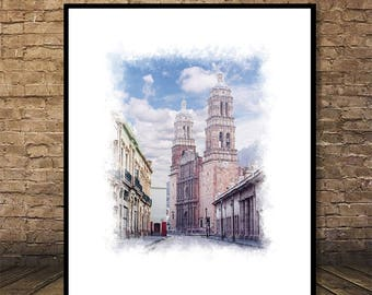 Cathedral of Zacatecas,Watercolor, Mexico Poster, Instant Download,        Digital Print, Canvas Print,Printable Art, Restaurant Decor