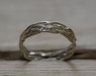 plaited sterling silver ring