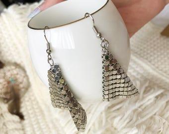 Shiny Silver Squared Dangle Earring