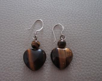 Tigers eye tigerseye stone earrings sterling silver hook