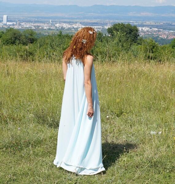 Wedding Bridesmade Silk Long Dress, Moonstone Stripe Neck Maxi Dress, Gemstone Necklace White Boho Dress, Gemstone Necklace Classy Dress