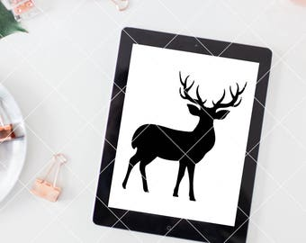 deer silhouette, svg, cut file, christmas decor svg, vector file, deer svg digital, reindeer graphic, deer standing silhouette, reindeer