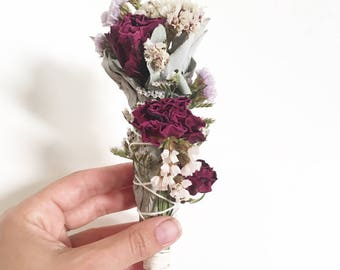 Rose & Wildflower Smudge Wand // floral smudge stick // white sage // extra flower smudge // energy cleansing // altar decoration // witchy