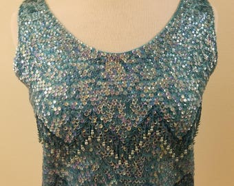 """SALE - Beyond Gorgeous 60s Vintage Beaded Top - Aqua / Turquoise Chevron Patter - VOLUP - 38"""" Bust - Made in Hong Kong - Marked Size M"""