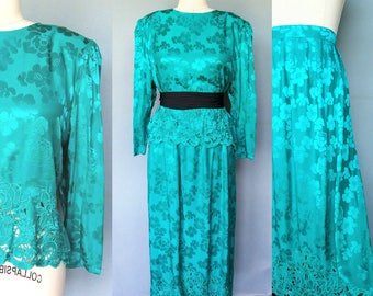 joanie / 1980s teal silk two piece blouse and skirt set with floral cutout / 14 16 large