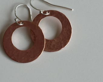 Hammered Copper Hoops with Sterling Silver Earwires