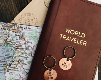 Airport Codes Keychain, Traveler Gift, Travel Keychain, Pilot Gifts, Flight Attendant Gifts, Penny Keychain, Airplane Keychain, Gift For Him