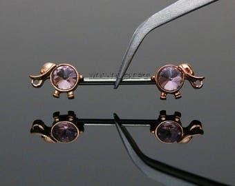 Rose Gold Elephant Nipple Barbell, Pink Centered Crystal Nipple Piercing, 14G Elephant Nipple Barbell Ring, Crystal Barbell, Rose Gold H 522