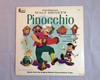 Walt Disney's Pinocchio Disneyland Vinyl Record 1963