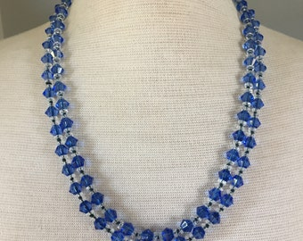 Vintage beaded necklace, Art Deco jewellery, flapper necklace, blue necklace, glass crystal necklace, long beaded necklace