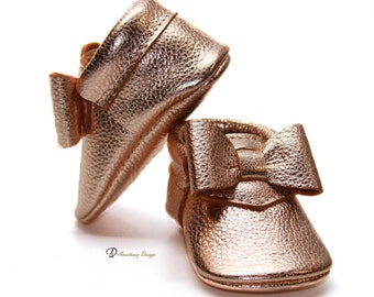 Baby Moccasins Leather Baby Moccasins Rose Gold Bow Leather Baby Moccasins Baby Girl Moccasins Toddler Moccasins Baby Girl Shoes